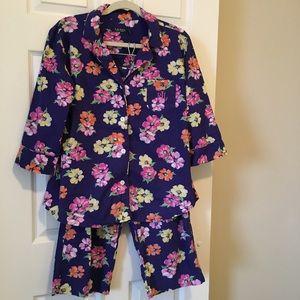 Lauren Ralph Lauren Blue Floral Cotton Pajamas